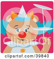 Clipart Illustration Of A Blue Eyed Female Circus Clown Teddy Bear Doing A Balancing Stunt