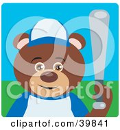 Clipart Illustration Of A Brown Teddy Bear Playing Baseball On A Field by Dennis Holmes Designs