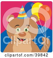 Clipart Illustration Of A Green Eyed Male Birthday Teddy Bear Holding Party Balloons by Dennis Holmes Designs