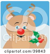 Clipart Illustration Of A Blue Eyed Teddy Bear Disguised As Rudolph
