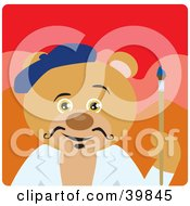 Clipart Illustration Of A Brown Artist Bear Holding A Paintbrush by Dennis Holmes Designs