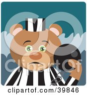 Clipart Illustration Of A Green Eyed Prisoner Teddy Bear Attached To A Ball And Chain