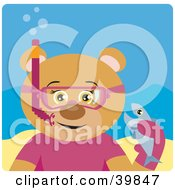 Clipart Illustration Of A Brown Female Bear Wearing Pink Snorkel Gear Holding A Fish Underwater by Dennis Holmes Designs