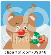 Clipart Illustration Of A Green Eyed Teddy Bear Disguised As Rudolph