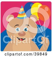 Clipart Illustration Of A Blue Eyed Male Birthday Teddy Bear Holding Party Balloons by Dennis Holmes Designs