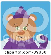 Clipart Illustration Of A Green Eyed Female Teddy Bear In Purple Throwing Snowballs by Dennis Holmes Designs