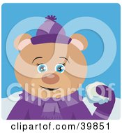 Clipart Illustration Of A Blue Eyed Female Teddy Bear In Purple Throwing Snowballs by Dennis Holmes Designs