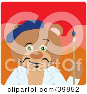 Clipart Illustration Of A Green Eyed Artist Teddy Bear Holding A Paintbrush by Dennis Holmes Designs