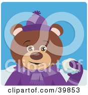 Clipart Illustration Of A Brown Female Teddy Bear In Purple Throwing Snowballs by Dennis Holmes Designs
