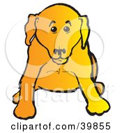 Clipart Illustration Of A Cute Yellow Lab Puppy Dog Sitting And Facing Front