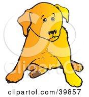 Clipart Illustration Of A Cute Yellow Lab Puppy Dog Sitting And Looking To The Side