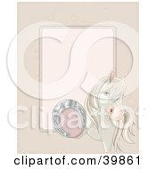 Clipart Illustration Of A White Horse Lifting Up Its Foot To Show A Good Luck Horse Shoe On Its Foot With Space For Text