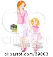 Clipart Illustration Of A Happy Young Daughter Holding Hands And Walking With Her Mom On Mothers Day by Pushkin