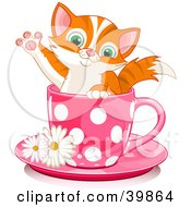 Clipart Illustration Of An Adorable Orange Kitten In A Pink Polka Dotted Tea Cup by Pushkin