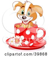 Clipart Illustration Of An Adorable Puppy Dog In A Red Polka Dotted Tea Cup