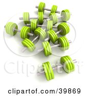 Clipart Illustration Of 3d Lime Green Blue Free Weights by Frank Boston