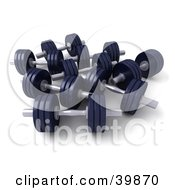 Clipart Illustration Of 3d Navy Blue Free Weights by Frank Boston