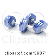 Clipart Illustration Of Two 3d Blue Free Weights