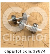 Clipart Illustration Of Two 3d Chrome Free Weights On Parquet Flooring In A Gym