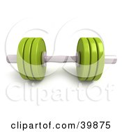 Clipart Illustration Of A 3d Lime Green And Chrome Free Weight by Frank Boston #COLLC39875-0095