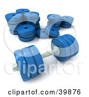 Clipart Illustration Of A Blue 3d Dumbbell Resting In Front Of A Stack Of Weights