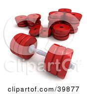 Clipart Illustration Of A Red 3d Dumbbell Resting In Front Of A Stack Of Weights