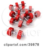 Clipart Illustration Of 3d Red Blue Free Weights by Frank Boston