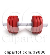 Clipart Illustration Of A 3d Red And Chrome Free Weight