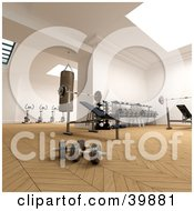 Clipart Illustration Of A Gym Interior With Parquet Flooring Free Weights A Bench Press Punching Bag And Stationary Bikes