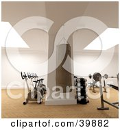 Clipart Illustration Of A Punching Bag Weight Bench Free Weights And Exercise Bikes In A Fitness Gym