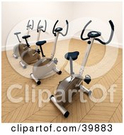 Clipart Illustration Of 3d Stationery Bicycles In The Corner Of A Gym