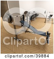 Clipart Illustration Of A 3d Weight Bench Near Free Weights In A Gym