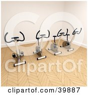 Clipart Illustration Of 3d Exercycles In The Corner Of A Gym by Frank Boston