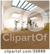 Clipart Illustration Of 3d Stationery Bicycles In A Fitness Gym With Skylights And Parquet Flooring