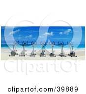 Row Of 3d Stationery Cycles On A Tropical Beach Looking Out Towards Blue Skies And Clear Water
