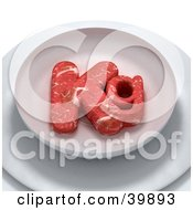 Clipart Illustration Of Red Meat In The Shape Of Kg On A Plate by Frank Boston