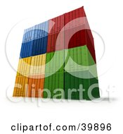 Clipart Illustration Of Colorful 3d Freight Containers Stacked by Frank Boston