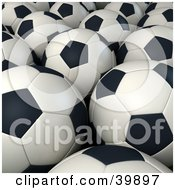 Clipart Illustration Of A Background Of Black And White Soccer Balls