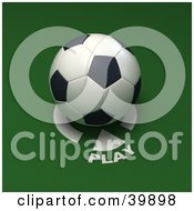 Clipart Illustration Of A Soccer Ball On A Play Marker On Green