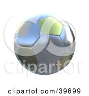 Clipart Illustration Of A Hovering Silver And Gold Soccer Ball