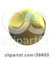 Clipart Illustration Of A Hovering Two Toned Gold Soccer Ball