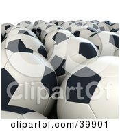 Clipart Illustration Of Rows Of White And Black Soccer Balls