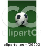 Single Soccer Ball On A Vertical Green Background