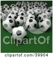 Clipart Illustration Of A Rows Of Soccer Balls On A Green Background