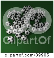 Group Of Soccer Balls On A Green Background