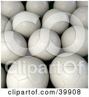 Clipart Illustration Of A Background Of White Soccer Balls by Frank Boston