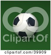 Clipart Illustration Of A Soccer Ball On A Green Square Background by Frank Boston