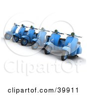 Clipart Illustration Of A Row Of Blue 3d Scooters For Sale At A Lot