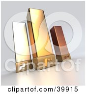 Clipart Illustration Of 3d First Second And Third Place Gold Bronze And Silver Trophies
