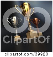 Clipart Illustration Of 3d Competition Gold Silver And Bronze Trophy Cups